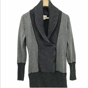 Cache Cowl Neck Faux Wrap Long Sleeve Sweater
